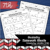 Seventh Grade Math Homework Sheets- Geometry
