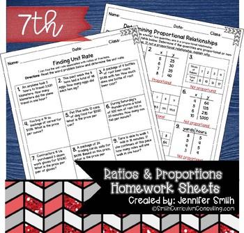 Seventh Grade Math Homework Sheets- Ratios and Proportions