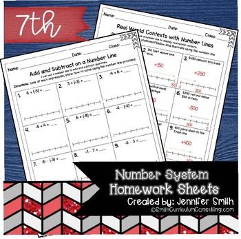 Seventh Grade Math Homework Sheets- The Number System