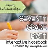 Seventh Grade Math Linear Relationships Interactive Notebook Unit