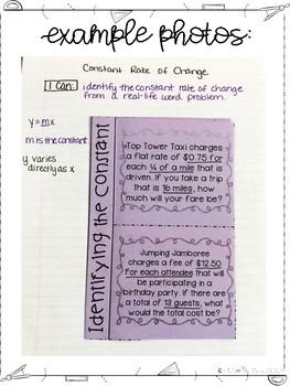 Seventh Grade Math Linear Relationships Interactive Notebook Unit