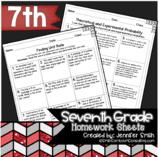 Seventh Grade Math Practice or Homework Sheets Bundle (Gro