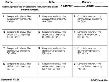 Seventh Grade Math Practice or Homework Sheets Bundle