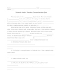 """Seventh Grade"" Reading Comprehension Quiz Plus Answers"