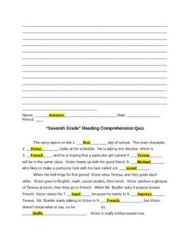 """Seventh Grade"" Reading Comprehension Quiz Plus Answers"