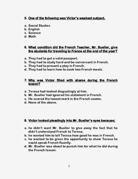 Seventh Grade by Gary Soto- Reading Comprehension Quiz ...