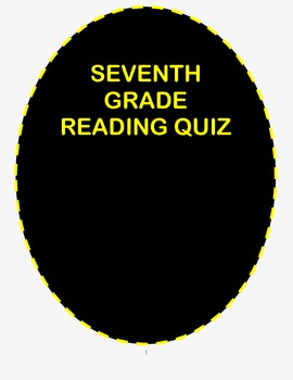 Seventh Grade by Gary Soto- Reading Comprehension Quiz wit