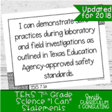 """Seventh Grade Science TEKS """"I Can"""" Statements 