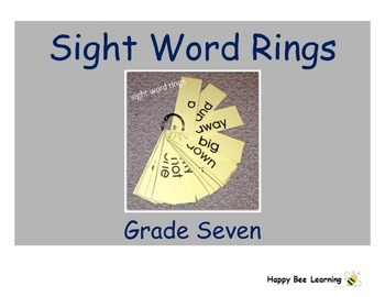 Seventh Grade Sight Word Rings
