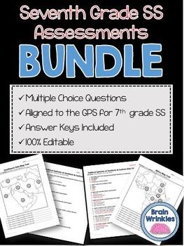 Seventh Grade Social Studies Assessment Pack ~ Editable