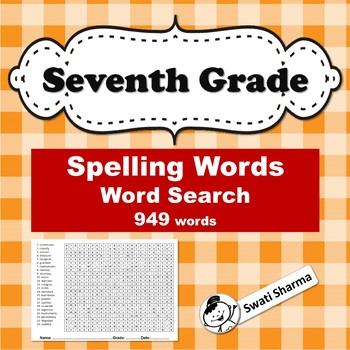 Seventh Grade Spelling Words Word Search