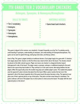 Seventh Grade Tier 2 Vocabulary Checkers