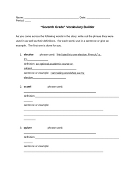 """Seventh Grade"" Vocabulary Builder"