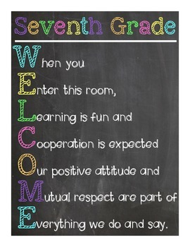 Seventh Grade Welcome Sign