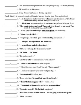 Seventh Grade by Gary Soto Figurative Language Worksheet ...