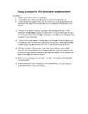 Several essay prompts for final essay test on The Reluctan