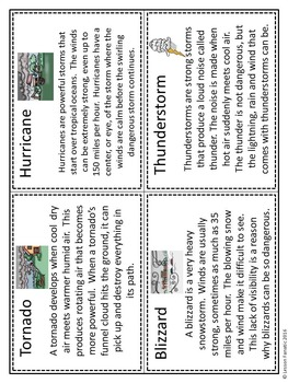 Severe Weather Information Cards with Organizer Worksheet