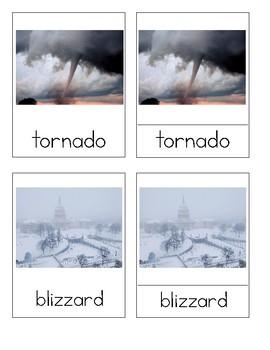 Severe Weather Montessori 3-Part Cards