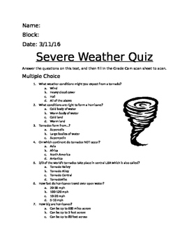 Severe Weather Quiz- Tornado and Hurricane Facts 5.E.1