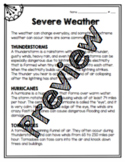Severe Weather Worksheet