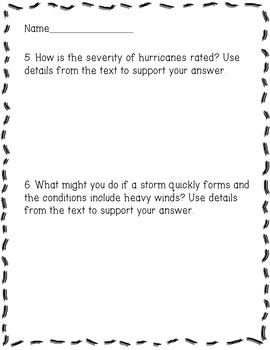 Severe Weather and Storms Reading Comprehension Activity