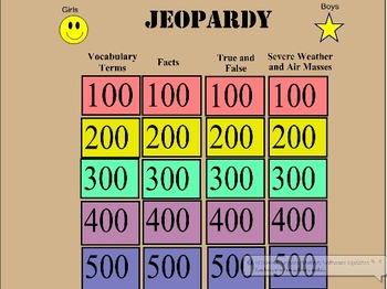 Severe Weather and Weather Systems Jeopardy Review Game