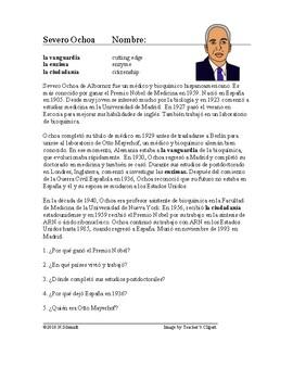 Severo Ochoa Biografía: Spanish Biography Hispanic Scientist $1 DEAL!