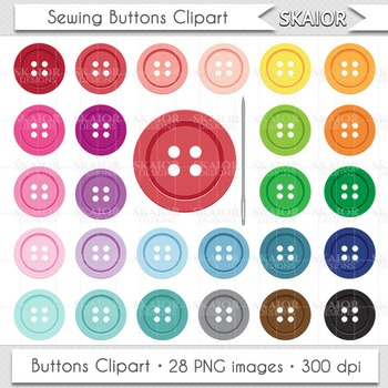 Sewing Buttons Clipart Button Clip Art Rainbow Color