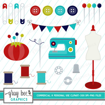 Sewing Clip Art Pack (Red & Turquoise)