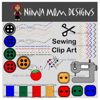 Sewing Clip Art in Color and Black Line