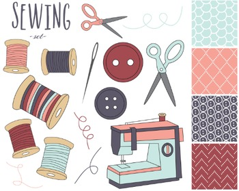 Sewing Clipart, Digital Clipart, Digial Design, Sewing Set #219