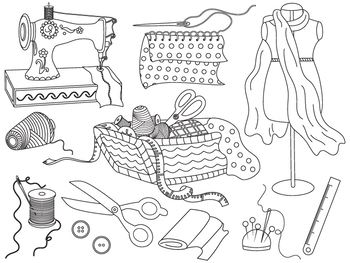 Sewing Clipart - Digital Vector Sewing Machine, Scissors, Dummy, Fabric Clip Art
