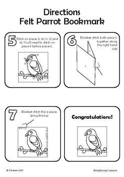 Sewing Craft Project Felt Parrot Bookmark