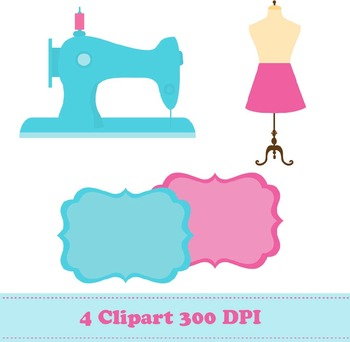 Sewing Digital Paper + Clipart