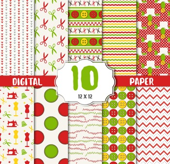 Sewing Digital Papers, Sewing Backgrounds, Paper Backgrounds, Buttons Texture