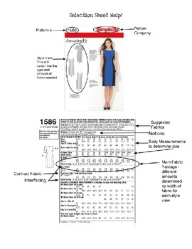 Sewing Garment Selection Sheet and Supply List