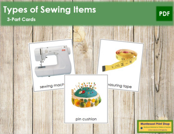 Sewing Items: 3-Part Cards