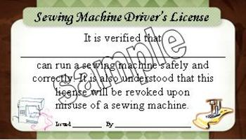 Sewing Machine Driver's License
