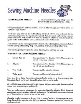 Sewing Machine Needles Lesson