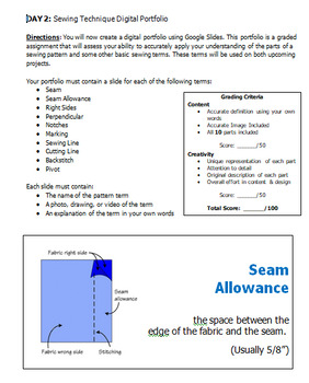 Sewing Pattern Marking - Technique Portfolio Activity/Assessments