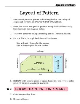 Sewing Project - Reversible Apron Instructions