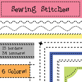 Sewing Stitches Borders and Banners, Embroidery Clip Art, Patchwork, Quilting