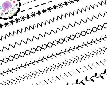 Sewing Stitches Digital Ribbon Borders