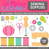 Sewing Supplies (Pink) Clip Art (Digital Use Ok!)