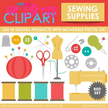 Sewing Supplies (Red) Clip Art (Digital Use Ok!)