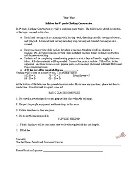 Sewing Syllabus