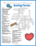 Sewing Terms Crossword  - 4 Versions