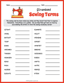 Sewing Terms Word Scramble