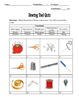 Sewing Tool Study Guide and Quiz
