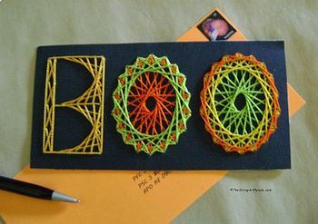 """Sewing Up Math's String Art Design for a """"BOO"""" Halloween card"""